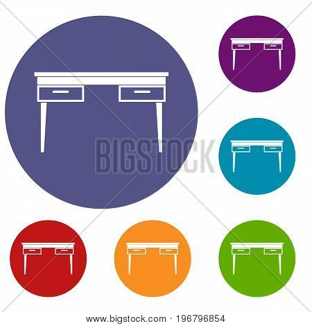 Wooden table icons set in flat circle red, blue and green color for web