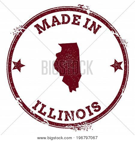 Illinois Vector Seal. Vintage Usa State Map Stamp. Grunge Rubber Stamp With Made In Illinois Text An
