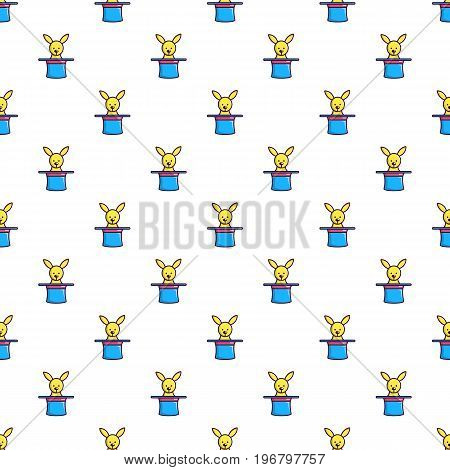 Rabbit appearing from a top magic hat pattern seamless repeat in cartoon style vector illustration