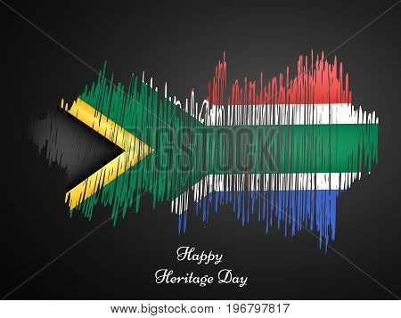 illustration of south Africa flag background texture with Happy Heritage Day text on the occasion of Heritage Day