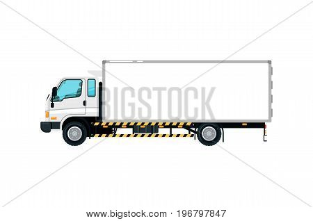 Freight container truck icon. Trucking business object, commercial transport and logistics, side view auto vehicle isolated vector illustration.