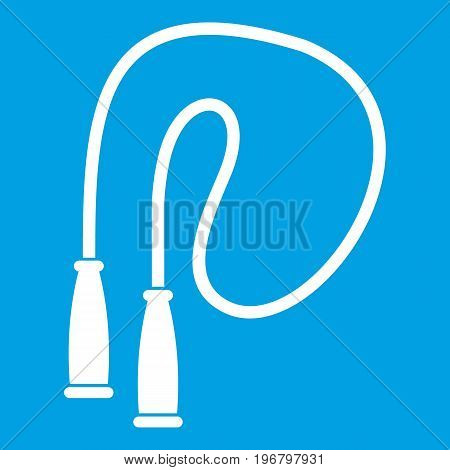 Skipping rope icon white isolated on blue background vector illustration