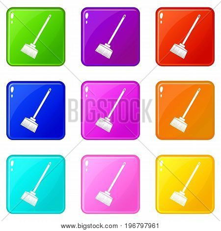 Broom icons of 9 color set isolated vector illustration