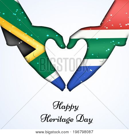 illustration of hands in south Africa flag background and heart design with Happy Heritage Day text on the occasion of Heritage Day