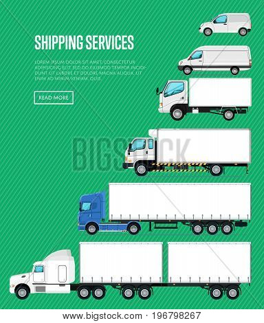 Shipping services poster with commercial transport. Freight trucking service, cargo transportation company, auto business advertising. Auto logistics and delivery vector illustration in flat style.