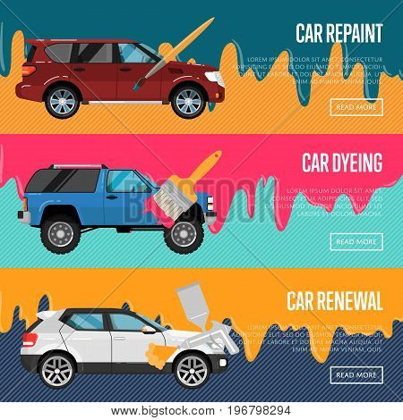 Car repaint, renewal and dyeing flyers set. Auto business advertising, automobile painting company, professional auto repair service. Painting car using brush and spray compressor vector illustration.