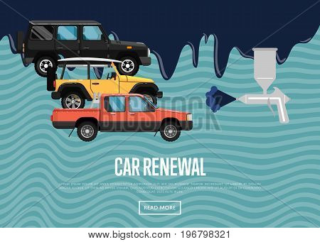 Car renewal business concept with city cars. Auto business advertising, automobile painting, car repainting and dyeing company, professional auto repair service vector illustration.