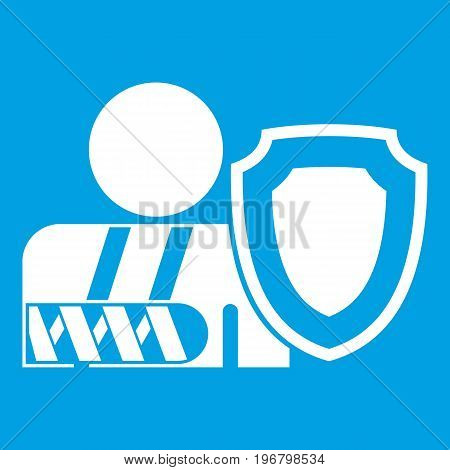 Broken arm and safety shield icon white isolated on blue background vector illustration