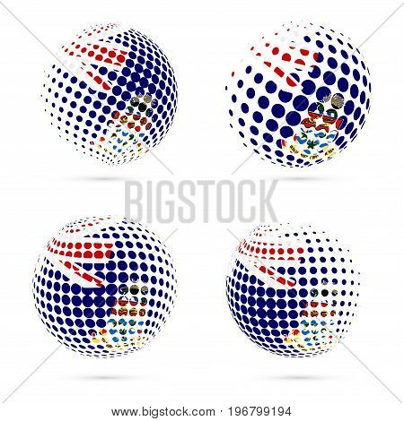 Cayman Halftone Flag Set Patriotic Vector Design. 3D Halftone Sphere In Cayman National Flag Colors