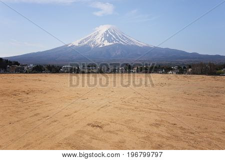 Vacant land of rural areas and have Mount Fuji in the daytimeconcept of tourism and landscape of land.