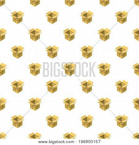 Open empty cardboard pattern seamless repeat in cartoon style vector illustration