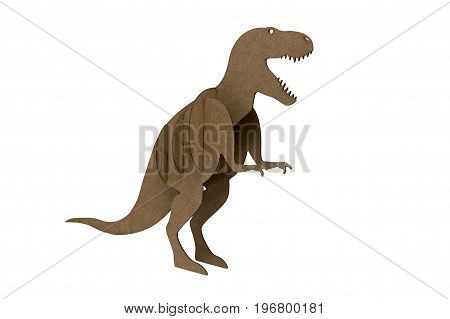 paper dinosaur toy isolated on white background. tyrannosaur Rex made out of cardboard