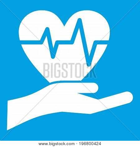 Hand holding heart with ecg line icon white isolated on blue background vector illustration