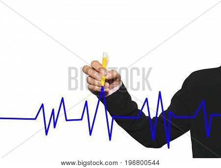 hand of business woman using yellow pen write business line graph on white background in concepts profit and investment.