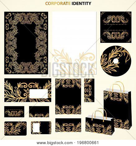 Black and golden Business style templates with abstract pattern. Vector
