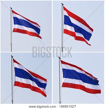 Thailand flag with wind on sky background.
