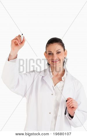 Smiling Scientist Writing On An Empty White Board
