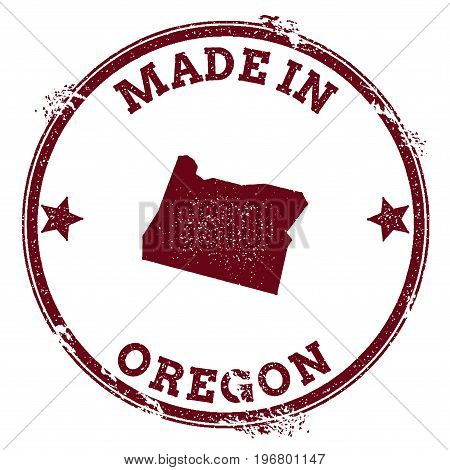 Oregon Vector Seal. Vintage Usa State Map Stamp. Grunge Rubber Stamp With Made In Oregon Text And Us