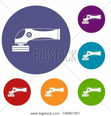 Grinder machine icons set in flat circle red, blue and green color for web
