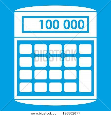 An electronic calculator icon white isolated on blue background vector illustration