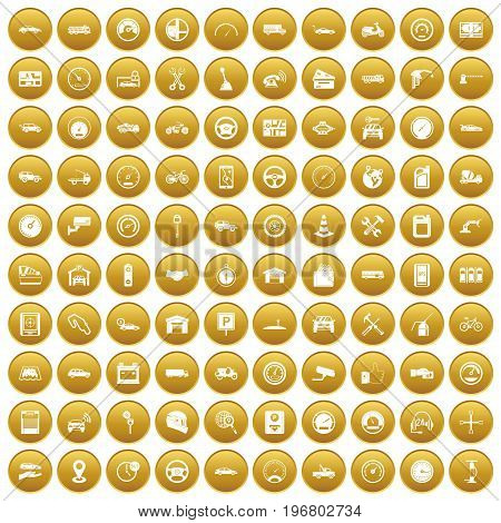 100 garage icons set in gold circle isolated on white vector illustration
