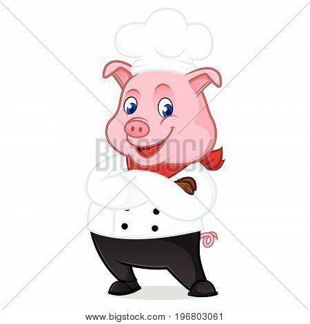 Chef Pig Cartoon Mascot Folding Hands