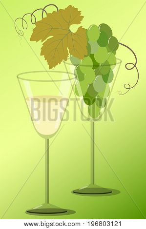 Two wineglass with a bunch of white grapes and wine on a green background, vector illustration