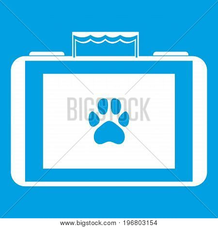 Suitcase for animals icon white isolated on blue background vector illustration