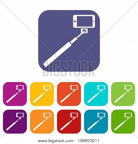 Selfie stick and smartphone icons set vector illustration in flat style in colors red, blue, green, and other