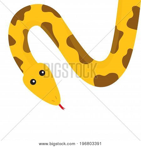 Yellow python snake red tongue. Golden crawling serpent with brown spot. Cute cartoon character. Flat design. White background. Isolated. Vector illustration