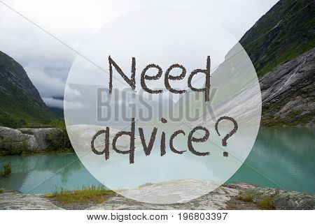 English Text Need Advice. Lake With Mountains In Norway. Cloudy Sky. Peaceful Scenery, Landscape With Rocks And Grass. Greeting Card