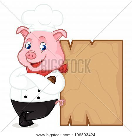 Chef Pig Cartoon Mascot Leaning On Wooden Plank