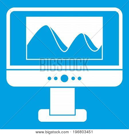 Computer monitor with photo on the screen icon white isolated on blue background vector illustration
