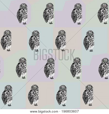 Seamless pattern with freaky looking black and white tawny owl. Cute texture for textile wrapping paper cover background design wallpaper