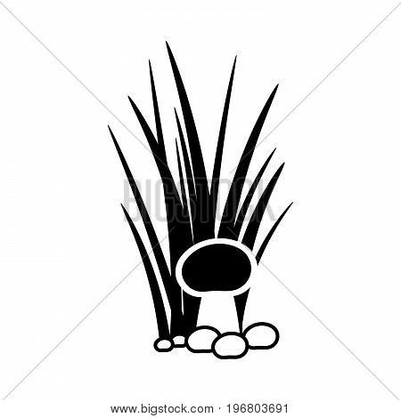 Bush of grass with mushroom silhouette isolated on white background. Vector illustration