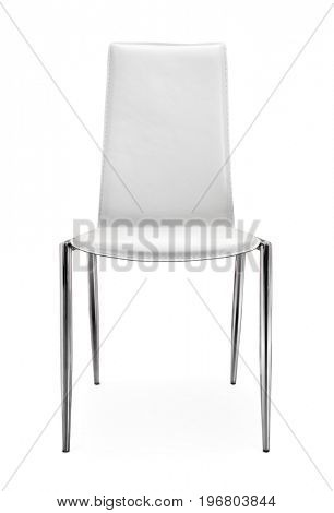 Front view of chair made of leather and steel  isolated on white