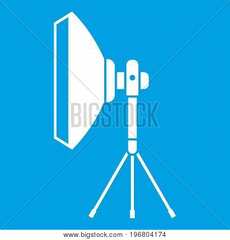Studio lighting equipment icon white isolated on blue background vector illustration