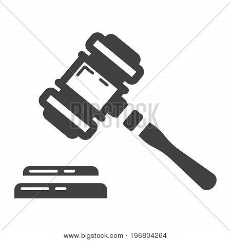 Auction hammer glyph icon, business and finance, judge gavel sign vector graphics, a solid pattern on a white background, eps 10.