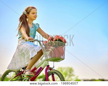 Bikes bicycling girl. Child girl wearing white skirt looks into the distance keeps bicycle. Blu sky and green tree on background. Summer park outdoor. Child feels free.