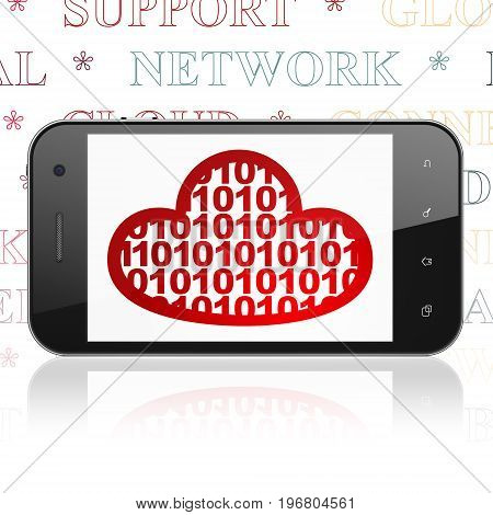 Cloud technology concept: Smartphone with  red Cloud With Code icon on display,  Tag Cloud background, 3D rendering