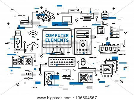 Computer desktop elements vector illustration with colorful elements. Desktop components: motherboard usb card cpu chip keyboard ram memory hdd processor line art.
