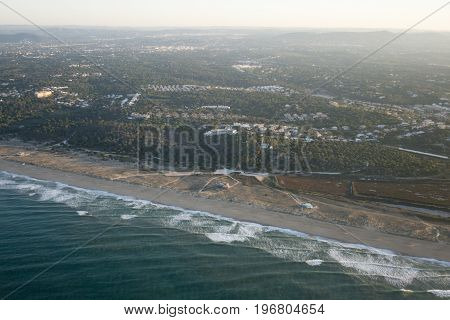 the coast near the city of Faro at the Algarve of Portugal in Europe.