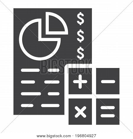 Budget planing glyph icon, business and finance, calculate sign vector graphics, a solid pattern on a white background, eps 10.