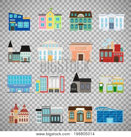City buildings flat icons isolated on transparent background. Daycare and hotel, courthouse and airport, bus station and the business center. Vector illustration