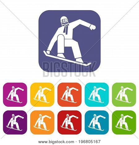 Snowboarder icons set vector illustration in flat style in colors red, blue, green, and other