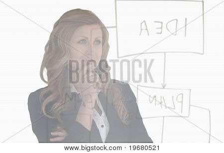 Young Woman Thinking About A Diagram