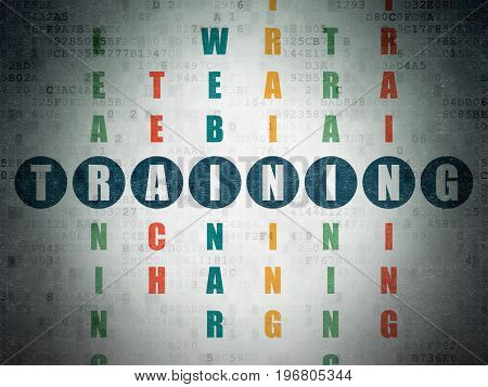 Studying concept: Painted blue word Training in solving Crossword Puzzle on Digital Data Paper background