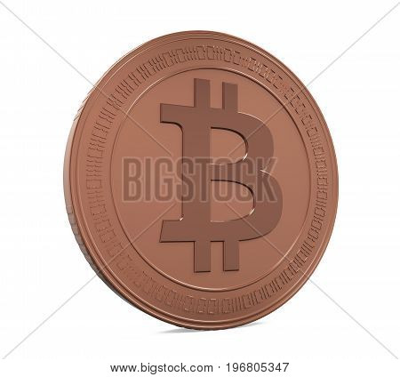 Bronze Bitcoin isolated on white background. 3D render