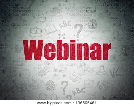 Education concept: Painted red text Webinar on Digital Data Paper background with   Hand Drawn Education Icons