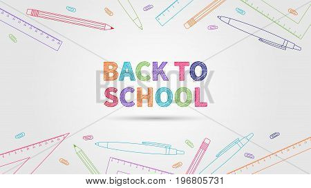 Back to school vector illustration. Creative concept Back to school with colorful elements: pencil pen ruler staple. Graphic design template on light grey background.